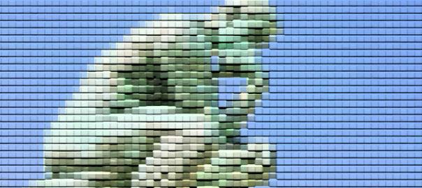 Tänkaren, staty av Auguste Rodin. I pixelerad verison.