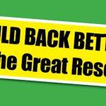 En build back better skylt mot en grön bakgrund