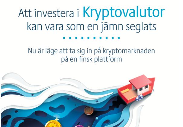 """""""Läge att ta sig in på kryptomarknaden"""" Annons i Hbl."""